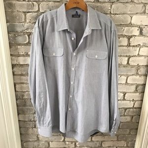 Kenneth Cole Long Sleeve striped shirt Gray White